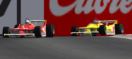 Pedro bounces over the kerbs as he battles with Fulvio