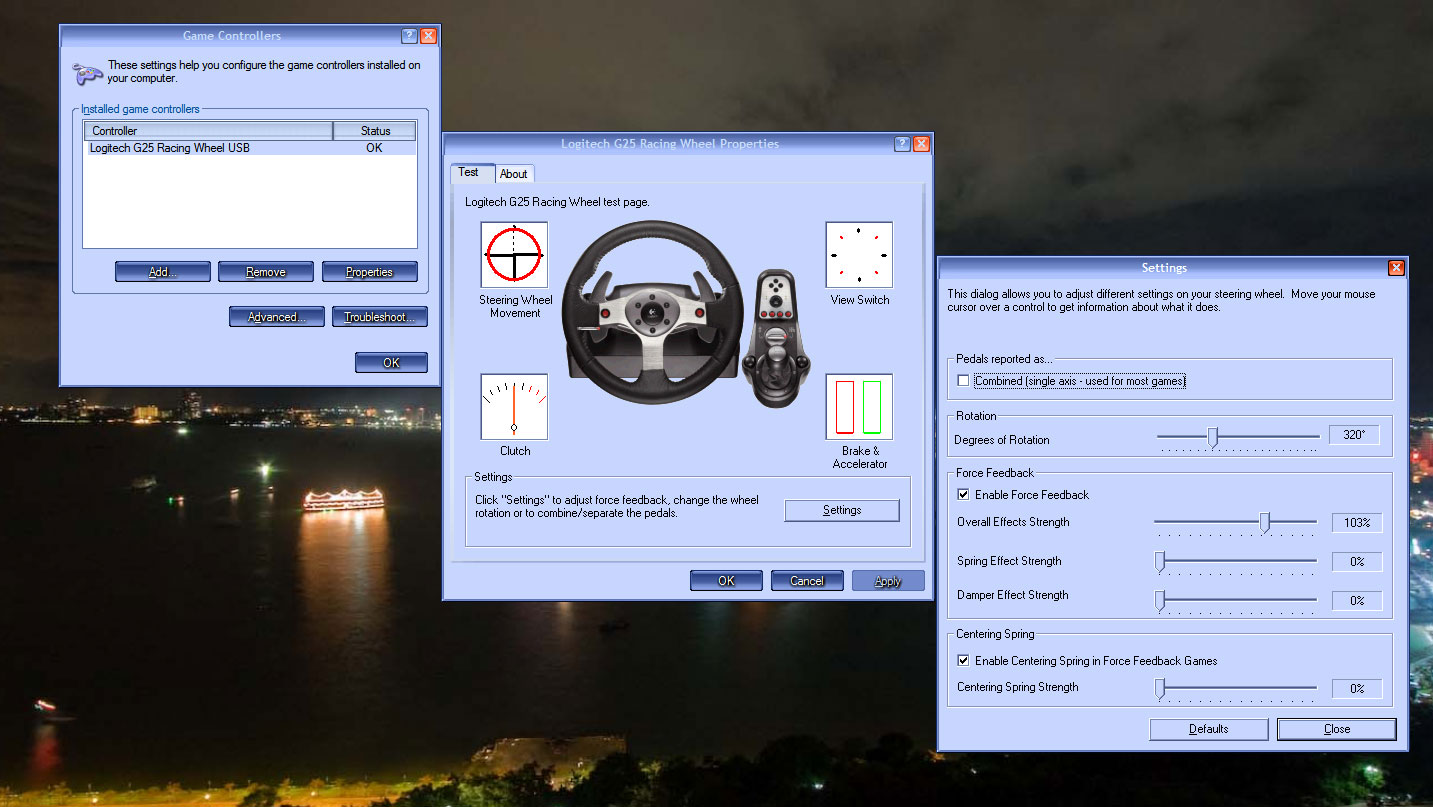 windows game controller settings for G25