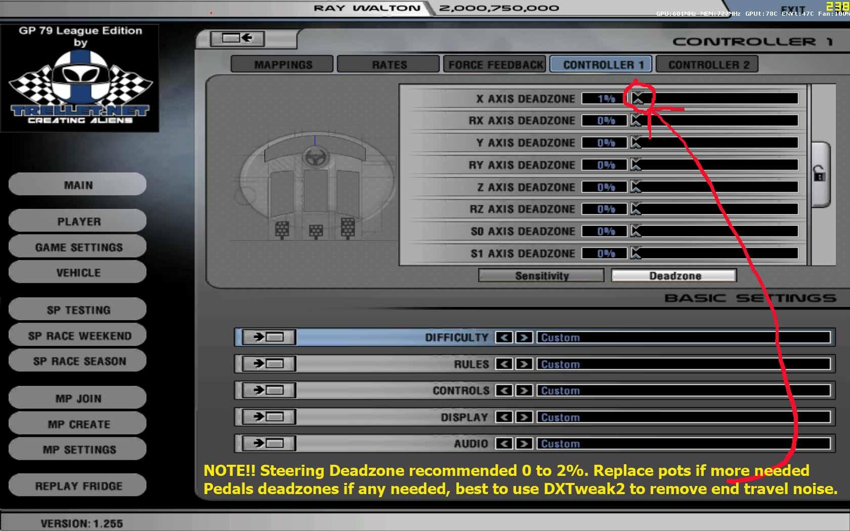 controller deadzone settings