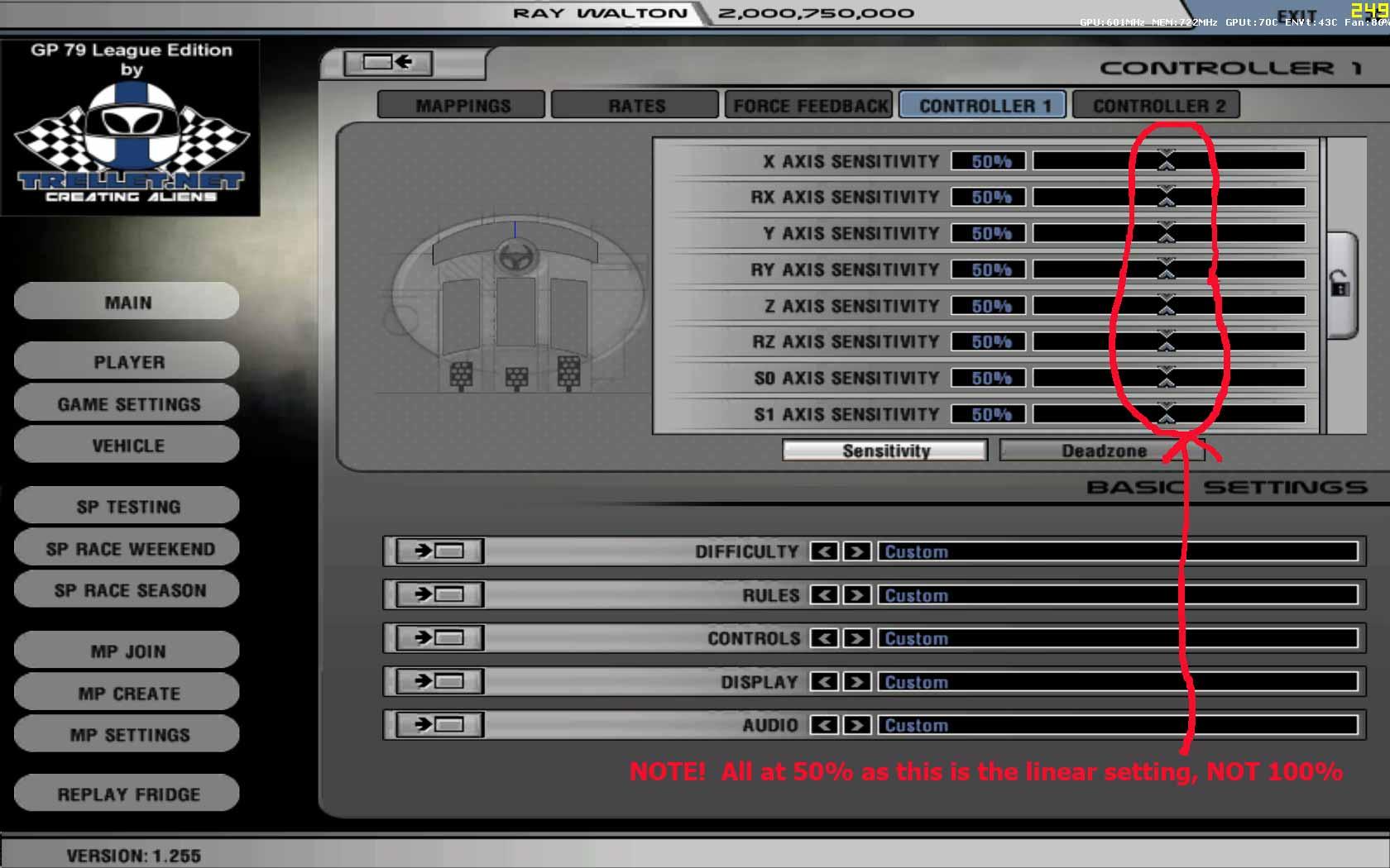 controller sensitivity settings